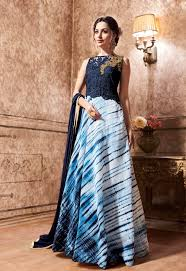 prom gown online shopping india blue evening party wear gown in silk