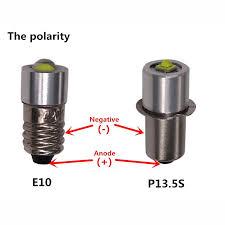 2pcs lot torch light bulb l 3v 4 5v 6v 1watt e10 p13 5s led