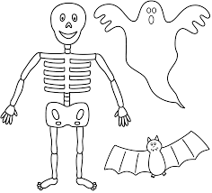 Download Coloring Pages Ghost Halloween Skeleton With Bat And Page
