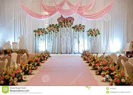 Wedding Stage An Chinese With Traditional Floral Decoration Stock Photos