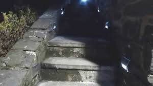 Solar Lights For Deck Stairs by Solar Step Lights In Action At Night And Review Youtube