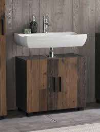 bad casa waschbecken unterschrank mit 2 türen stehende und hängende montage möglich korpus graphit dekor und front style dekor melamin