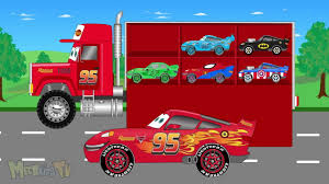 Disney Lightning Mcqueen Big Transport Truck - Cars For Kids - YouTube
