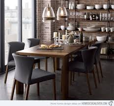 Large Craftman Dining Room Design With Flynn Grey Leather Upholstered Chairs Set Sleek Rectangular Wooden