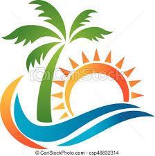 Logo For Travel Agency Tropical Resort Beach Hotel Spa Summer Vacation Symbol Vector
