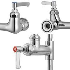 Krowne Pre Rinse Faucets by Aquaterior Chrome Double Handle Brass Pre Rinse Commercial Wall