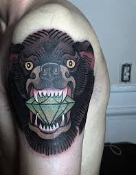 A Wild Looking Bear Painted In Japanese Style With Glaring Fangs And Wide Eyes Full Of Madness Anger The Bears Menacing Mouth Is Large Green