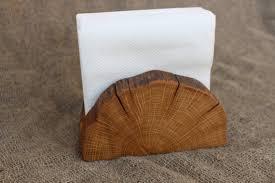 Wooden Napkin Holder Natural Branch Rustic Paper Desk HolderPicnic HolderOld Primitive Design
