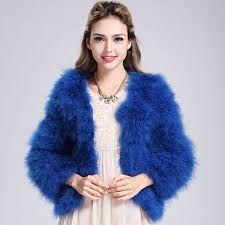 new luxury women lady soft real ostrich fur feather coat jacket