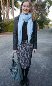 Blue And Black Office Outfit Winter Lace Pencil Skirt Skull Scarf Balenciaga Day Bag