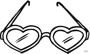 Click The Heart Shaped Sunglasses Coloring Pages
