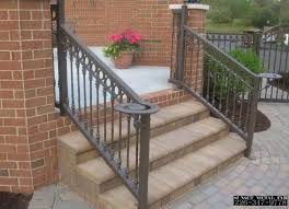 Exteriors Classic Front Step Railing Design Using Black Wrought
