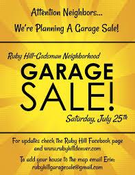 Neighborhood Garage Sale Ruby Hill Godsman Neighborhood Association