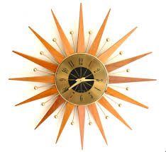 Mid Century Modern Clock For Your Interior Decor Starburst Wall With