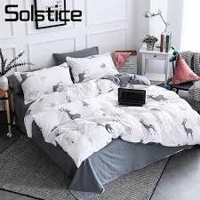 Solstice Home Textile Nordic Reindeer Bedding White Duvet Cover Set Sheet Pillowcase Girl Kid Teen Boys Bed Linen Christmas Tree Cheap Full Size Comforter