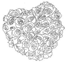 Rose Heart Bouquet Coloring Page