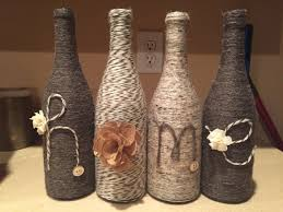 Decorative Wine Bottles Ideas by Wine Bottles Decorated With Yarn Craft Time Pinterest Yarns