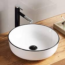 homelava runde keramik aufsatzwaschbecken weiß körper schwarz randstreifen mit ventil ablauf bad gäste wc ohne wasserhahn
