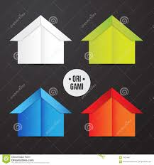 100 Origami House Vector Paper Icon Colorful Origamy Set Paper
