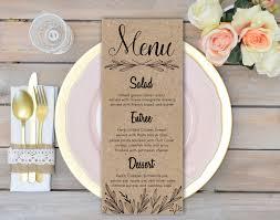 Rustic Wedding Menu Cards Rehearsal Dinner