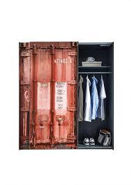 kleiderschrank container optik rot 2 trg b 170 cm kinder jugend schlafzimmer wäscheschrank schwebetürenschrank schiebetürenschrank