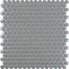 Porcelain tile backsplash penny round mosaic glazed ceramic tile