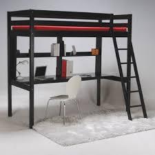 lit mezzanine noir avec bureau lit mezzanine