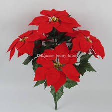 2018 10 Bunches Artificial Christmas Flowers Red Poinsettia Bushes Tree Ornaments Home Decoration Holiday Planter Dia 85 Inch From Beauty Hause