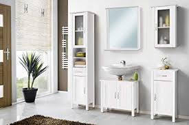 galdem solair badmöbel set mit spiegel waschbeckenunterschrank hochschrank hängeschrank seitenschrank badezimmer echtholz weiß