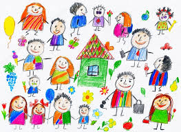 Cartoon People Collection Child Drawing Object On Paper Hand Drawn Art Picture Stock