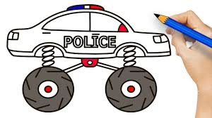 Police Monster Truck Drawing And Coloring Pages - How To Draw Police ...