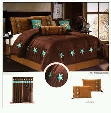 15pc GIFT SHEETSET Western Lone Star Comforter Suede King Chocolate Turquoise ComfortersRustic StyleComforter SetsChocolatesWesternsConfidenceChocolate