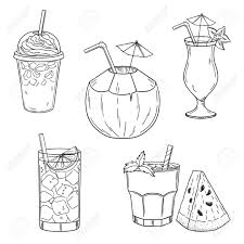 Set Of Hand Drawn Summer Drinks Iced Coffee Coconut Lime Water Cocktail