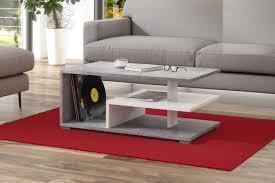 design couchtisch tisch link beton betonoptik weiß matt wohnzimmertisch 90x50x40cm mit ablagefläche design impex