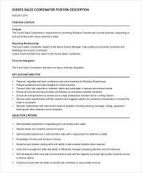 Event Sales Coordinator Job Description