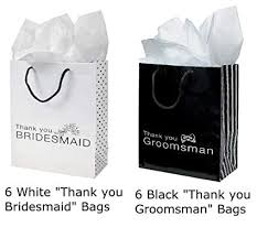 Amazon 12 THANK YOU Gift Bags Groomsmen Bridesmaid Black White Wedding Bridal Party Home Kitchen