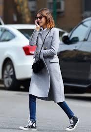 Le Fashion Blog Ways To Wear Black High Top Converse Sneakers Grey Coat Chanel Crossbody Bag