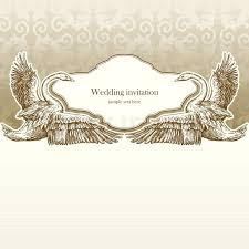 Vintage Wedding Invitation Card Antique Background Luxury Greeting Beautiful Ornamental Page Cover With Swans Floral Elegant Design
