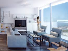 Modern Apartment Living Room Design With Normal Layout And Large Glass Wall By BosaSPACE