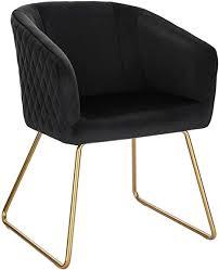 woltu bh271sz 1 1 esszimmerstühle küchenstuhl polsterstuhl wohnzimmerstuhl sessel mit armlehne sitzfläche aus samt metall gold beine schwarz