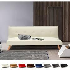 schlafcouch 2 sitzer mit schlaffunktion aus stoff wohnzimmer modern design larimar farbe weiß
