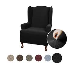 MAYTEX Pixel Ultra Soft Stretch Wing Back Arm Chair Furniture Cover  Slipcover, Black Lisle White Slipcover Wingback Host Chair Black Blue Ding Covers Round Back Room Chun Yi 2piece Stretch Jacquard Spandex Fabric Wing Armchair Slipcovers Tcushion For Walmart Fireside Floral Winsome Big Man Recliner Brown Power Boy Gray Wingbacks With Damask By Shelley Cube Target Pottery Bar Slipcovered Pattern Sewi Capri Captain Cdi Fniture