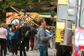 Atlanta, GA, USA - October 16, 2014: Customers Stand In Line.. Stock ... Food Truck Events Around Atlanta Yeah Lets Go Wow Food Truck Atlanta Kisha Solomon Flickr Colony Square Trucks Planit People Walk Among At Springtime Festival Frenzy Kenwood Park 20 September Truckshere At Last Jules Rules Learn More About The Waffle House Used For Disaster In The Patty Wagon Roaming Are Invading This Weekend In Richardson Housing Group Getting From Pickle Atlantas First Forkcetious