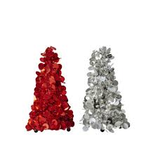 Small Sequin Christmas Tree In Silver Or Red By Rice DK