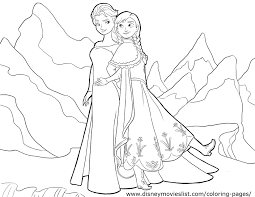 A Coloring Sheet Of Anna And Elsa Walking Through The Land