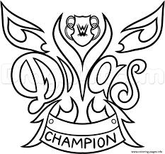 WWE Diva Championship Belt Nikki Bella Wrestling Coloring Pages Print Download 122 Prints