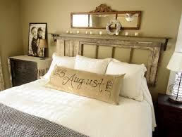 Bedroom Cool Diy Bedroom Decorating With Rustic Wooden Headboard