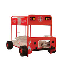 100 Fire Truck Loft Bed Shop Jackson Theme Red AndBlack Twin Over Twin Bunk