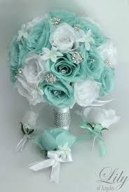 Turquoise Wedding Bouquet Turquoise Flowers Bridal Bouquet White