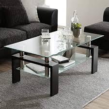 leisure zone transparenter gehärtetes glas chrom wohnzimmer couchtisch schwarzer moderner rechteckiger teetisch mit unterem regal und holzbeinen für